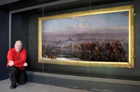 Paul McMahon with Levack painting, Summerlee Museum