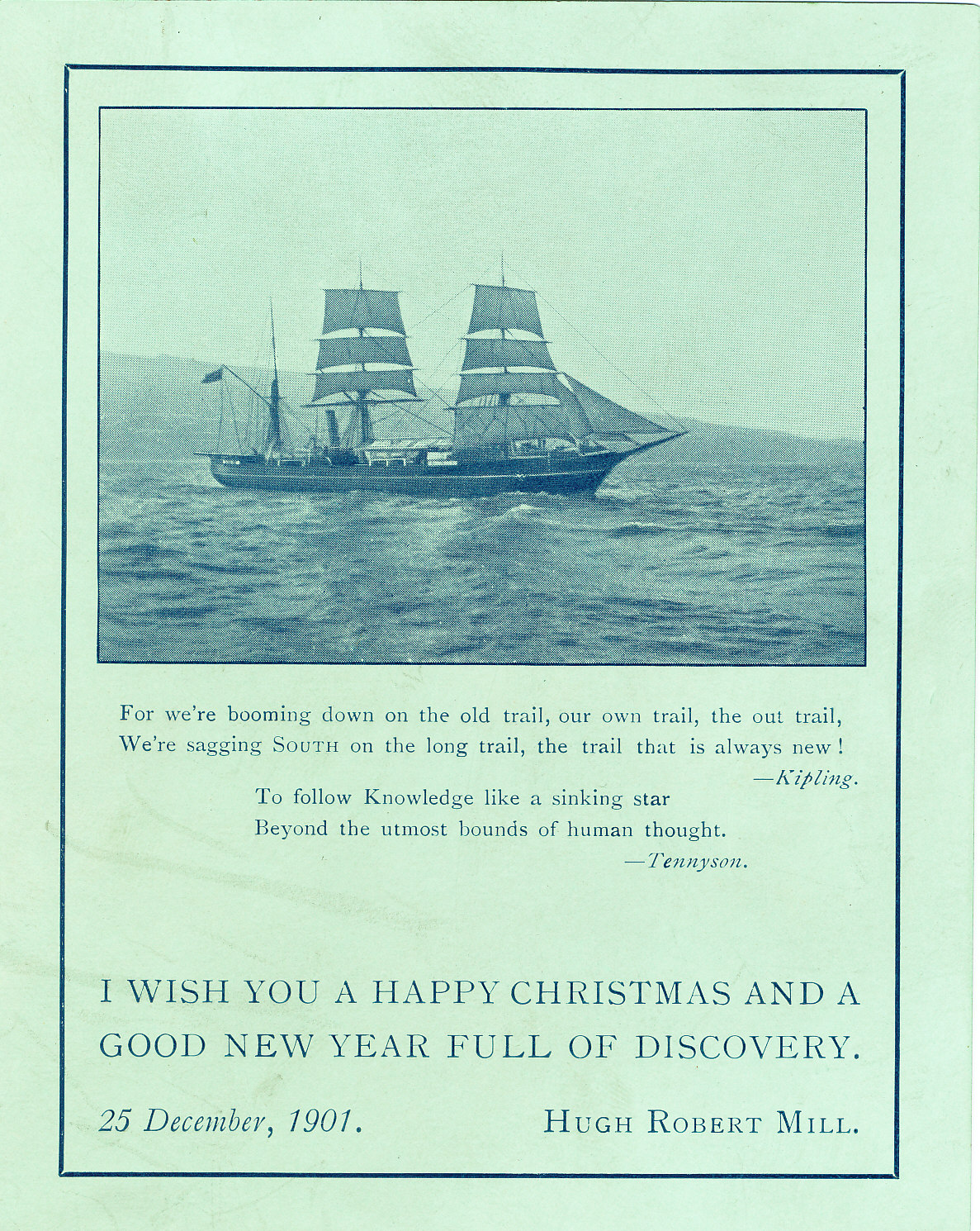 Christmas card showing Discovery under sail image