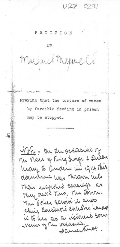 Margaret Maxwell's petition: praying that the torture of women by forcible feeding in prison may be stopped image