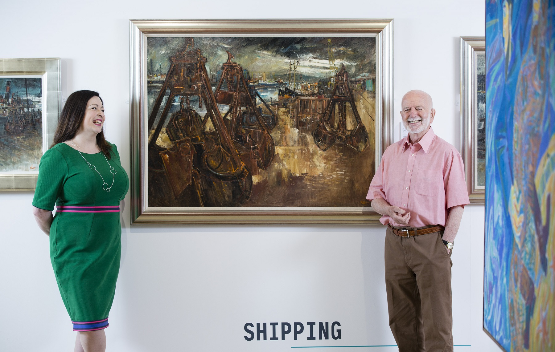 Curator Fiona Greer with artist James Watt at Maritime Perspectives exhibition.