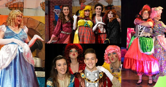 collage of images of new lanark panto 2018 - beauty and the beastie