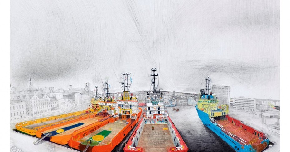painting of five large ships in port. ships are in colour, port in b/w