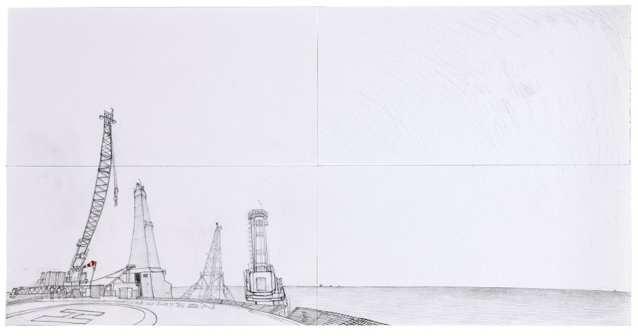 page from a sketchbook, depicting cranes and other machinery