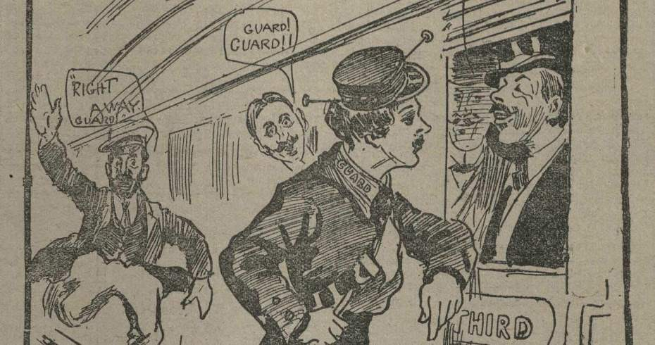 contemporary cartoon depicting female guard  conversing with male passengers.