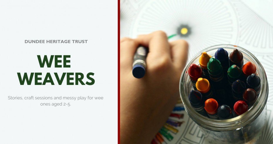 wee weavers in text next to image of child's hand holding crayon and a jar of crayons