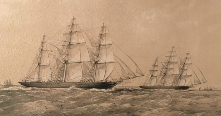 image of painting of a tea clipper at sea with other clippers in the background