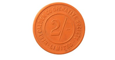 image of dividend token, west calder cooperative society limited, 2/-