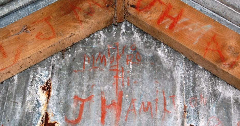 building k auchindrain with graffiti