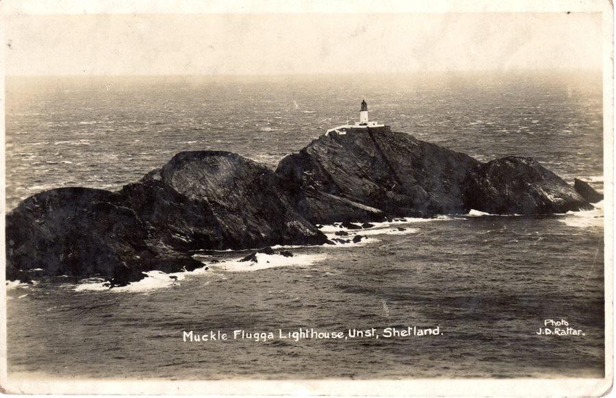postcard of muckle flugga lighthouse, obverse