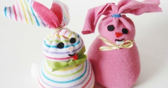 two examples of sock bunnies