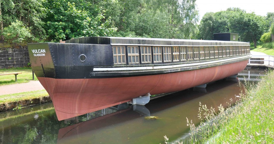 vulcan ship on monkland canal at sumerlee museum