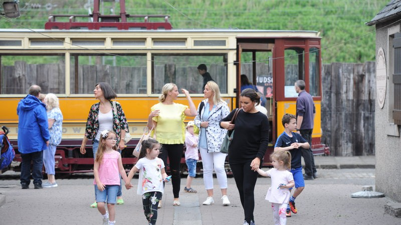 people and tram at summerlee