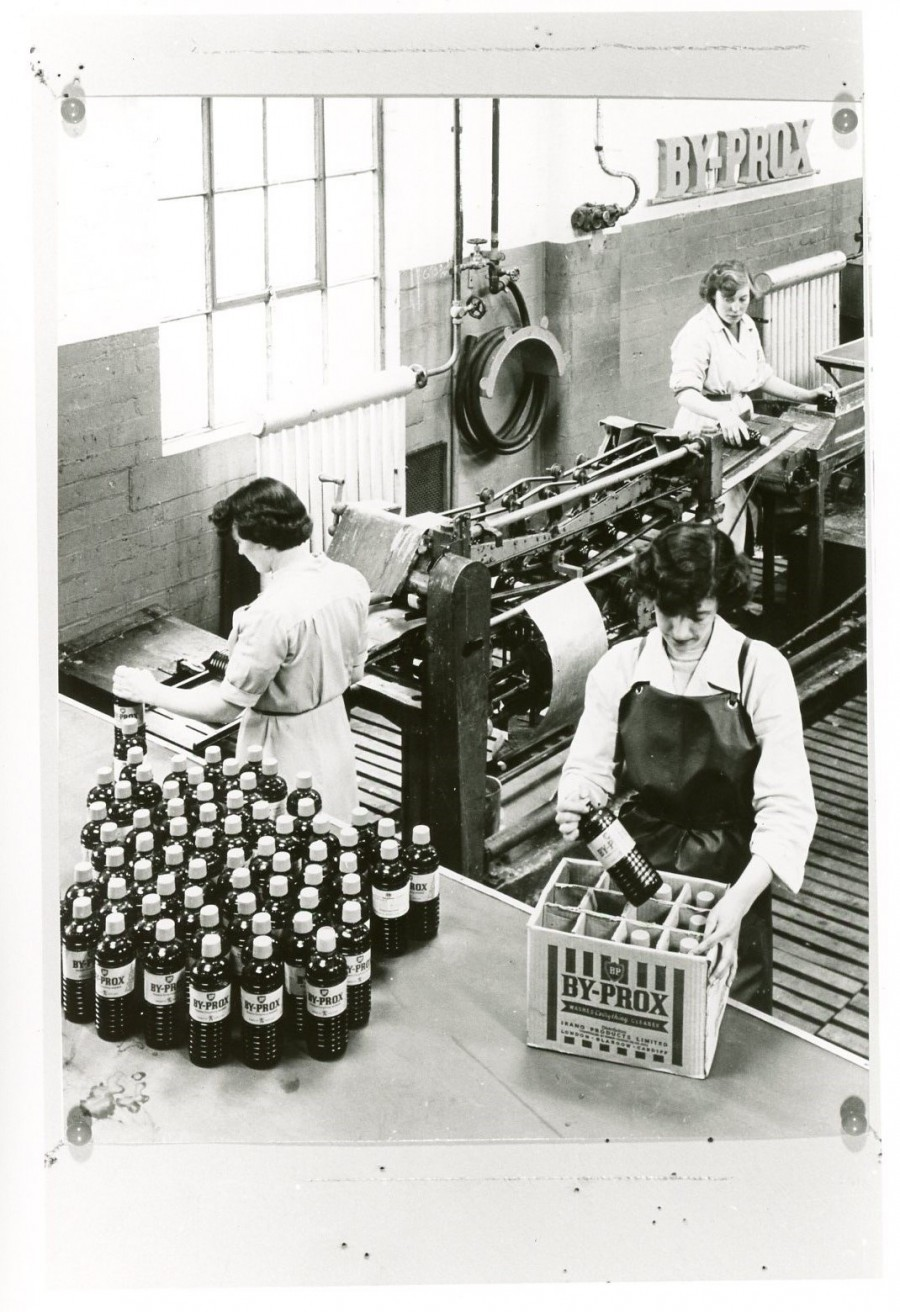 Ladies at Pumpherston Detergent Plant packaging bottles of By-Prox