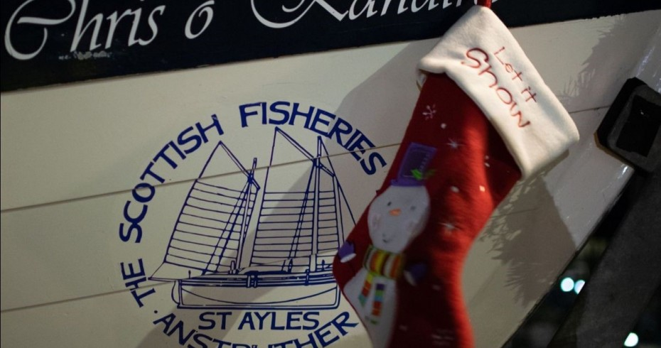 Christmas stocking hung on a boat