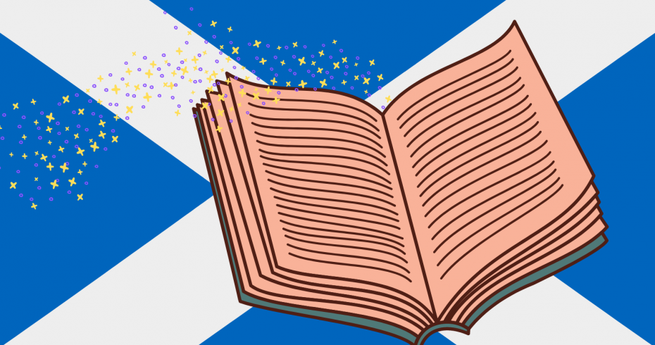 graphic of saltire with book in foreground
