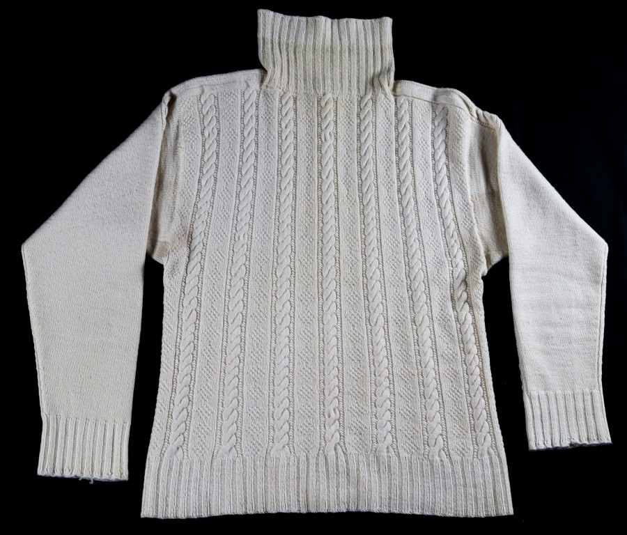 Knitted in 1940 by Robina Jack for her son, for when he left Cellardyke to serve in the Royal Navy at the outbreak of the Second World War
