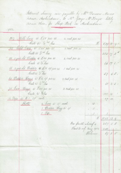 Handwritten document confirming payment for sheep stock image