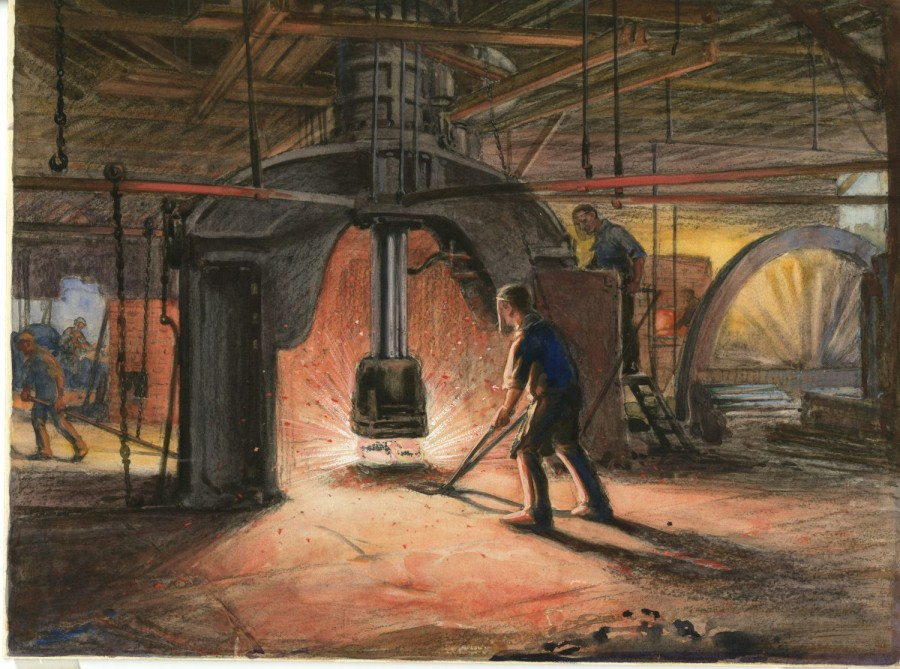 pastel drawing in paper of inside one of Coatbridge's last malleable ironworks