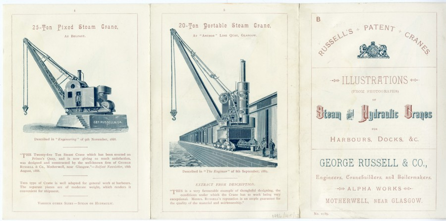 russell patent cranes brochure of steam and hydraulic cranes, front cover and two pages