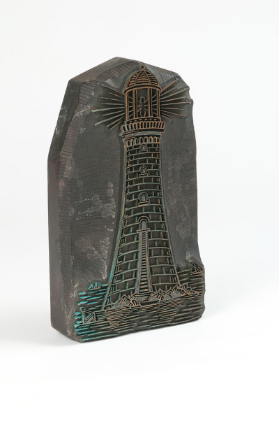 Hand-printing block, lighthouse design image